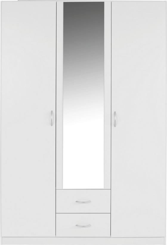 Kleiderschrank Karo, 3trg, 136cm - MODERN, Glas/Holzwerkstoff (136/197/54cm)