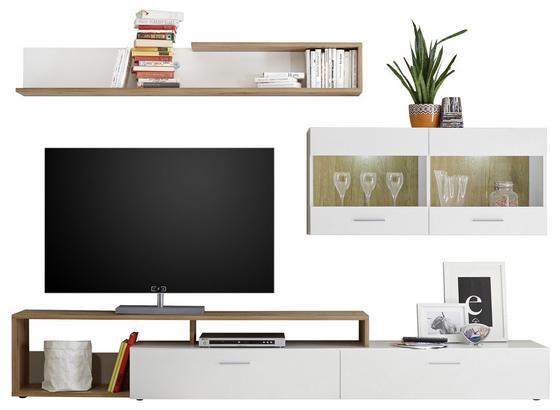 Wohnwand Modern 3 Tlg. mit Led New Vision 3, Weiß/Eiche Dekor - Eichefarben/Schwarz, MODERN, Glas/Holzwerkstoff (265/192/42cm) - MID.YOU