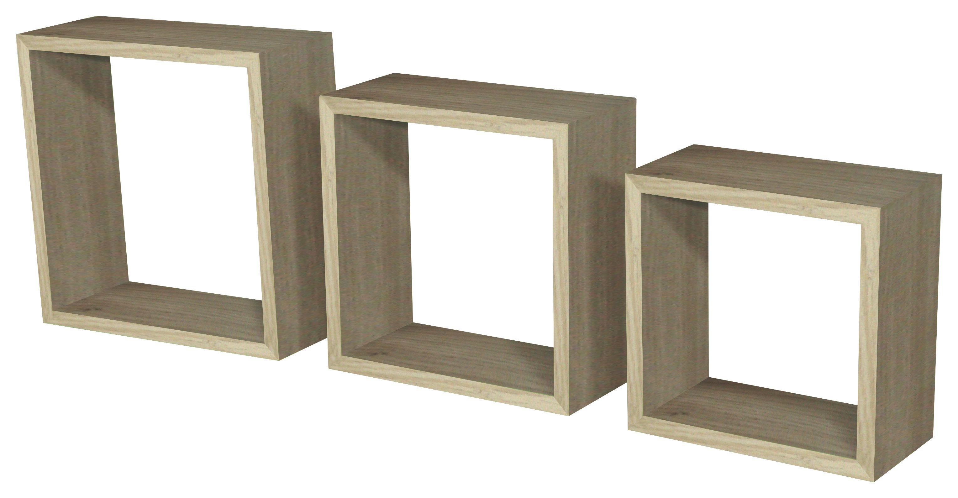 Falipolc Simple - tölgy színű, modern, műanyag/faanyagok (30/30/12cm)