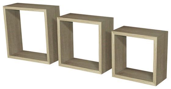 Regál Nástěnný Simple 3 - barvy dubu, Moderní, dřevěný materiál/umělá hmota (30/30/12cm)