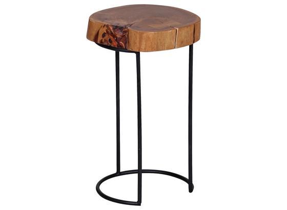 Beistelltisch Akola D: Ca 28 cm - Schwarz/Akaziefarben, Design, Holz/Metall (28/28/45cm) - Carryhome