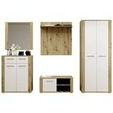Garderobe Mow B: 250 cm Eiche/Weiß - Eichefarben/Weiß, Basics, Holzwerkstoff (250/195/38cm) - P & B