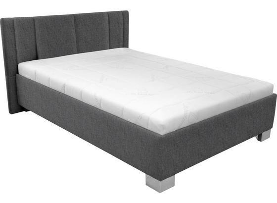Čalúnená Posteľ Stilo 140x200 - biela/antracitová, drevo/textil (214/162/97cm)