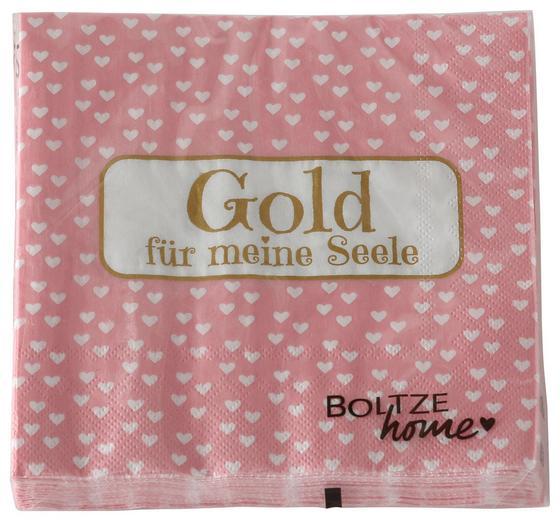 Serviette Goldy Rosa - Rosa, MODERN, Papier (17/17/2,5cm)