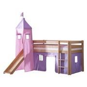 Spielbett Alex 90x200 cm Buche Massiv - Flieder/Rosa, Design, Holz/Textil (90/200cm) - MID.YOU