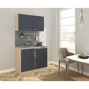 Miniküche B: 100 cm Grau/Eiche - Edelstahlfarben/Eichefarben, MODERN, Holzwerkstoff/Metall (100cm) - MID.YOU