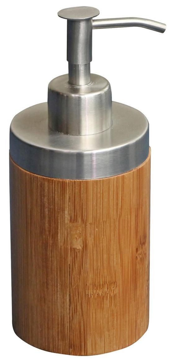 Seifenspender Rainbow - Edelstahlfarben/Braun, KONVENTIONELL, Holz/Kunststoff (7,2/16,8/7,2cm) - Homezone