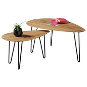Couchtisch Juan Eiche Massiv - Eichefarben/Schwarz, Design, Holz/Metall (68/97/42/60/38/43cm) - Hom`in