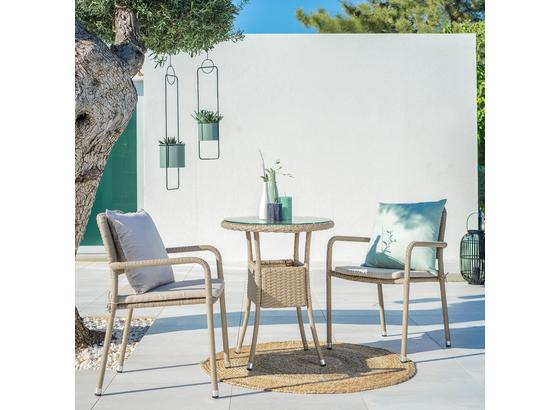 Balkónová Súprava Lissabon - hnedá/béžová, Basics, kov/textil - Modern Living