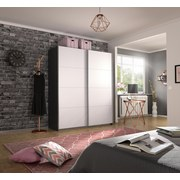 Schwebetürenschrank Belluno B:181cm Grau/ Weiß - Dunkelgrau/Weiß, MODERN, Holzwerkstoff (181/210/62cm)