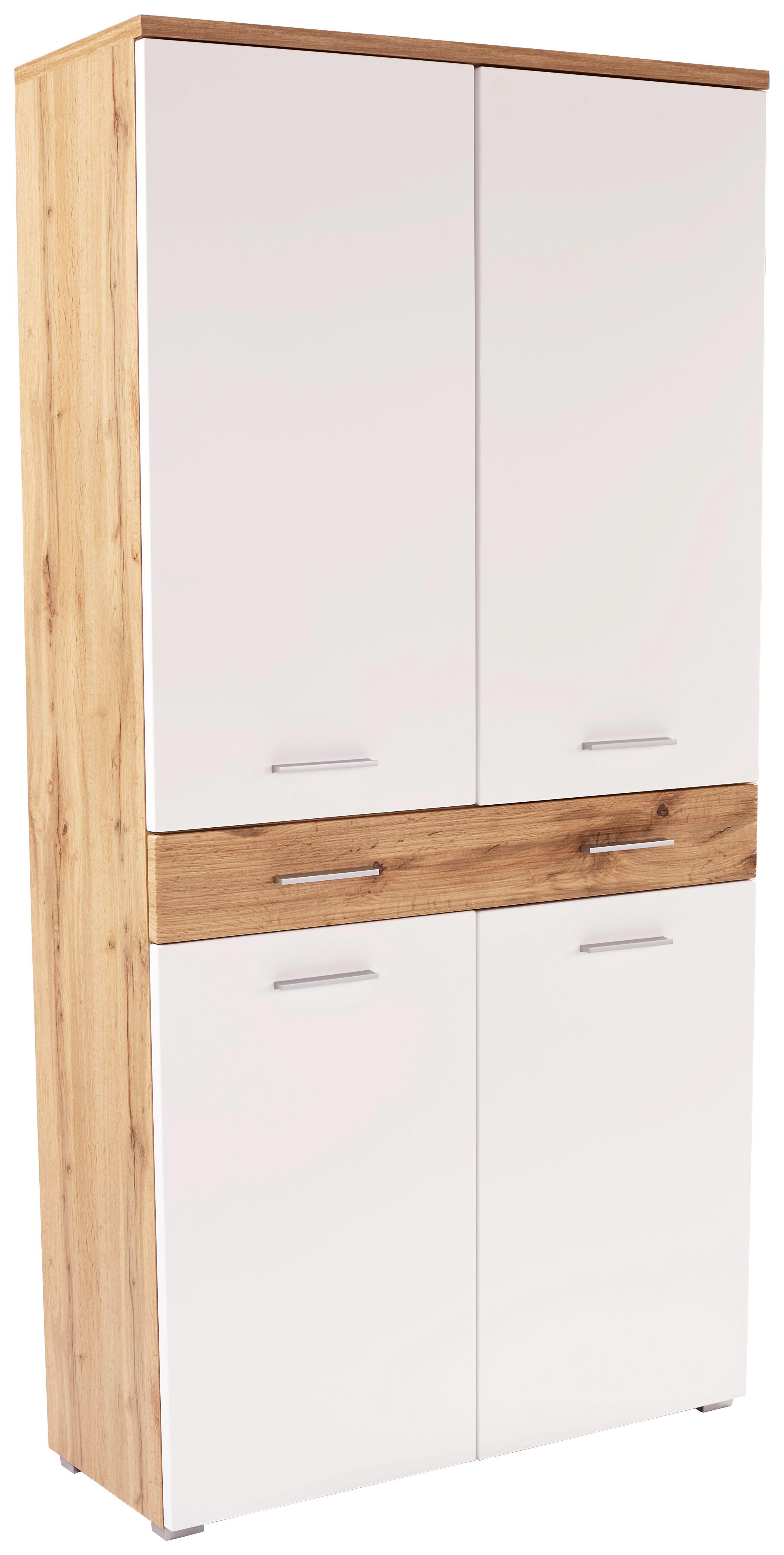 Šatní Skříň Space New - bílá/barvy dubu, Moderní, dřevěný materiál (100/199/35cm)