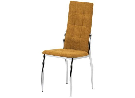 Stolička So 4 Nohami Jesy - chrómová/kari žltá, Basics, kov/textil (45/100/48cm)