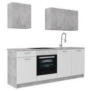 Küchenleerblock Stone 207cm Weiss/Beton Hell - Weiß, KONVENTIONELL, Holzwerkstoff (207cm)