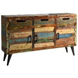Sideboard Marchena B: 140 cm Altholz - Multicolor/Schwarz, Basics, Holz (140/82/34cm)