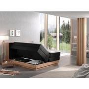 Boxspringbett mit Topper + Bettkasten 180x200cm Moneta - Eichefarben/Schwarz, MODERN, Holz/Textil (180/200cm) - Livetastic