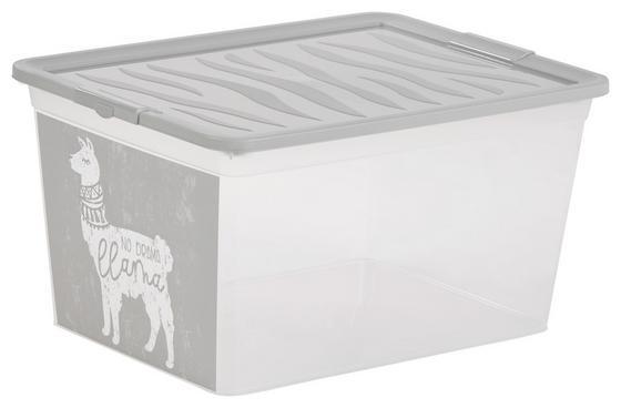 Aufbewahrungsbox Boho Drama Lama - Weiß/Grau, KONVENTIONELL, Kunststoff (38,4/19,9/28,3cm)