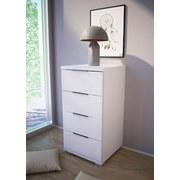 Nachtkästchen Weiß H: 79 cm - Silberfarben/Weiß, Basics, Holzwerkstoff (46/79/42cm) - MID.YOU