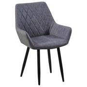 Stuhl Parker Vintage Grau Gepolstert - Schwarz/Grau, MODERN, Textil/Metall (58/87/64cm) - MID.YOU