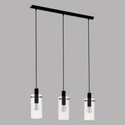 Hängeleuchte Montefino H: 110 cm 3-Flammig mit Glas - Klar/Schwarz, MODERN, Glas/Metall (73/11/110cm)