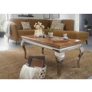 Couchtisch Holz/Metall mit Massiver Tischplatte, Sheesham - Silberfarben/Sheeshamfarben, MODERN, Holz/Metall (110/60/45,5cm) - MID.YOU