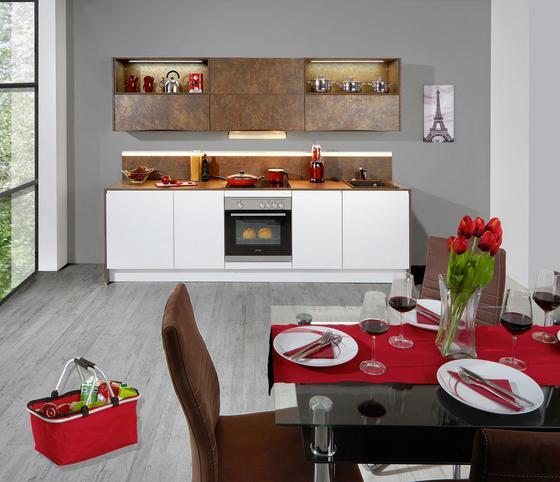 Konyhablokk Ibarra - bronz szín/fehér, modern, faanyagok (273,2cm) - VERTICO