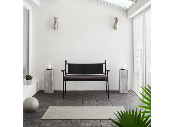 Záhradná Lavica Eva - čierna/tmavosivá, Moderný, umelá hmota/kov (120/85/60cm) - Modern Living