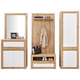 Garderobenkombination Kashmir New 1 B:228cm - Eichefarben/Weiß, MODERN, Holzwerkstoff (228/192/41cm) - James Wood