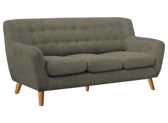 Dreisitzer-Sofa Monaco B: 181 cm Greige - Greige/Eichefarben, MODERN, Holz/Textil (181/82/85cm) - Luca Bessoni