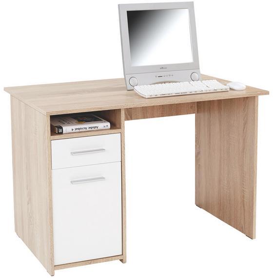 Íróasztal Palermo - Sonoma tölgy/fehér, modern, faanyagok (110/74/60cm)