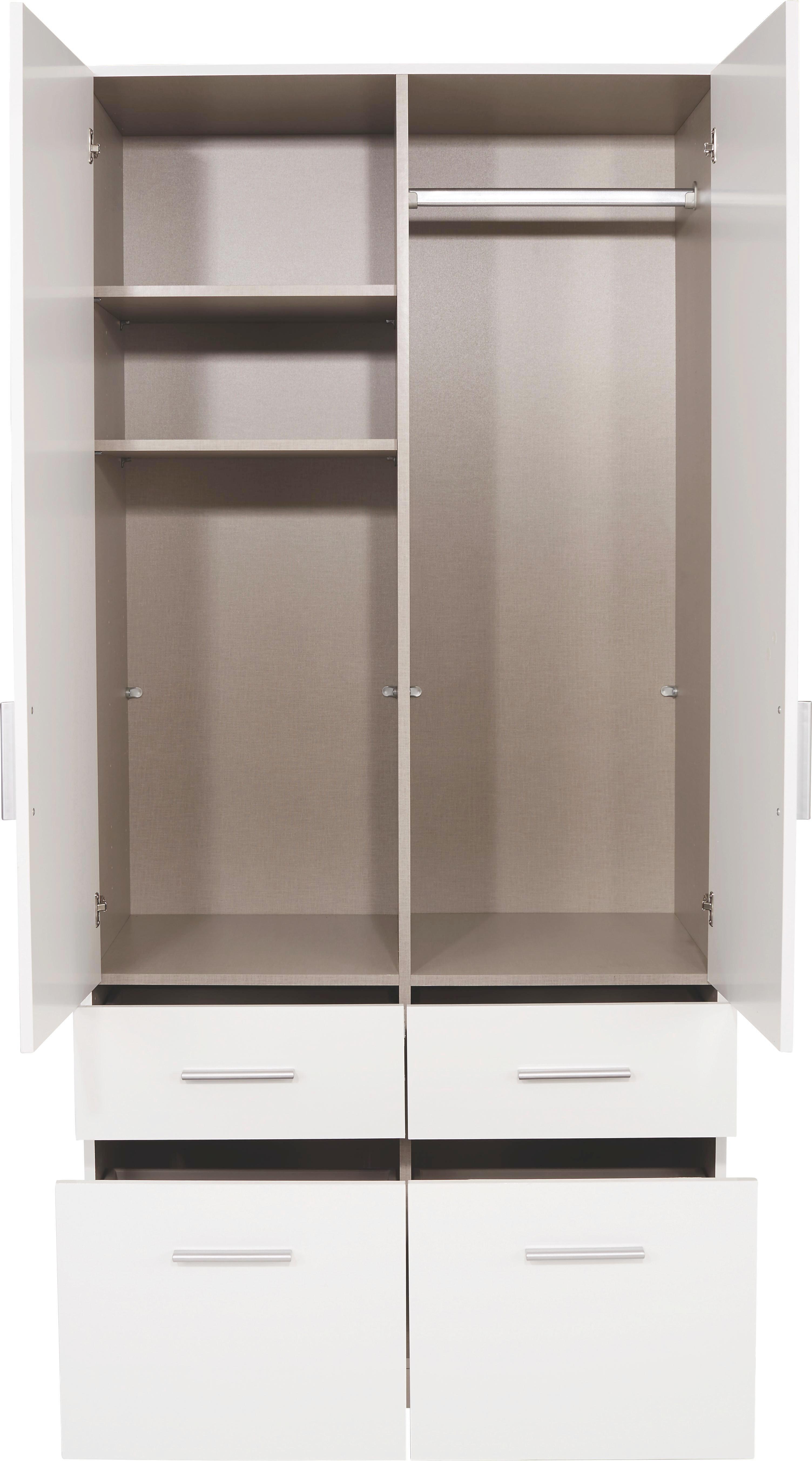 Ruhásszekrény Celle - fehér, modern, fa (91/197/54cm)