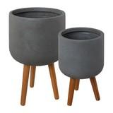 Übertopf-Set Grau 2-teilig - Grau, Basics (45,5/50cm)