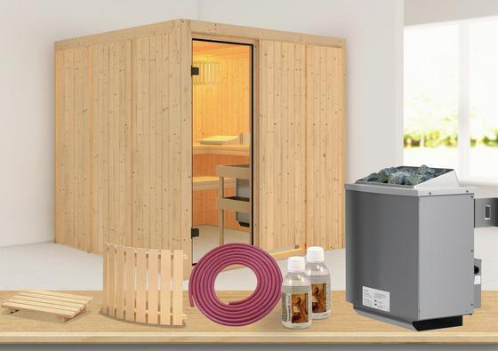 Sauna mit Ofen und Zubehör
