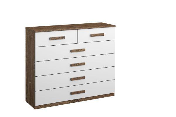 Komoda Bernau - bílá/barvy dubu, Moderní, dřevěný materiál (100/86/37cm)