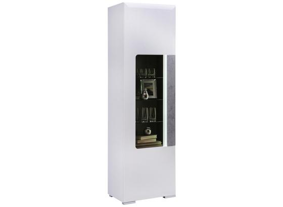 Vitrine Toronto B:58cm inkl. LED-Beleuchtung, Weiß Dekor - Hellgrau/Weiß, MODERN, Glas/Holzwerkstoff (57,9/196/42cm) - Ombra