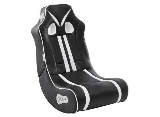 Gamingstuhl Ninja B: 56 cm Schwarz/Weiß - Schwarz/Weiß, Design, Textil (56/100/82cm) - Livetastic