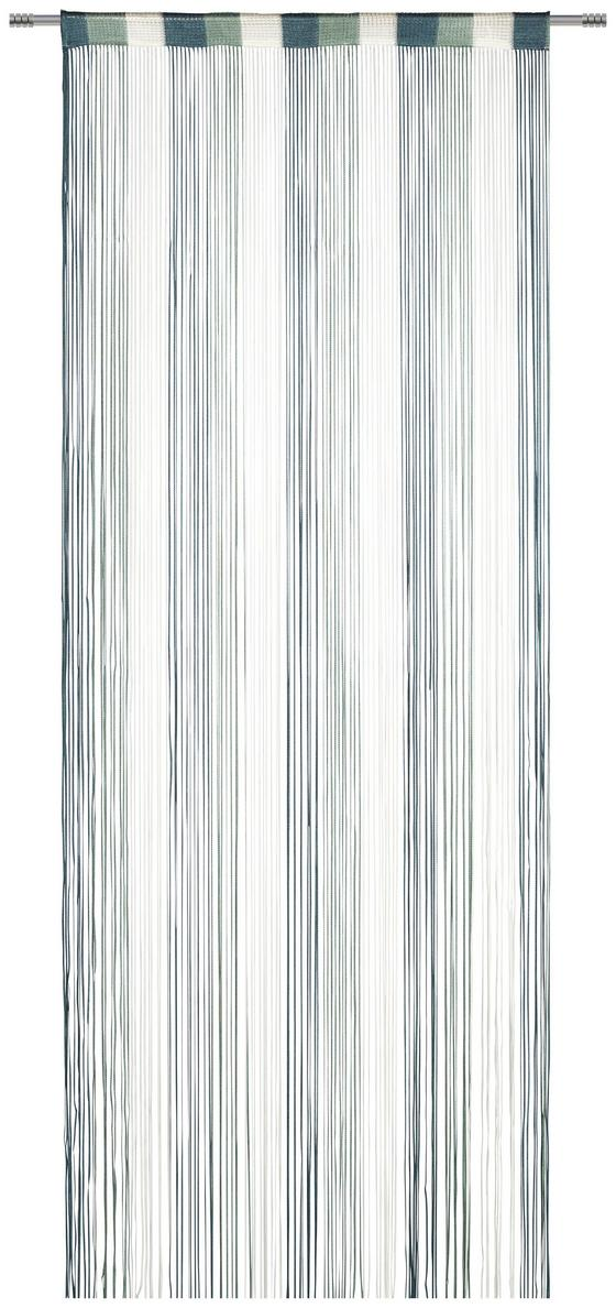Záclona Provázková String - bílá/jadeitová zelená, textil (90/245cm) - Premium Living