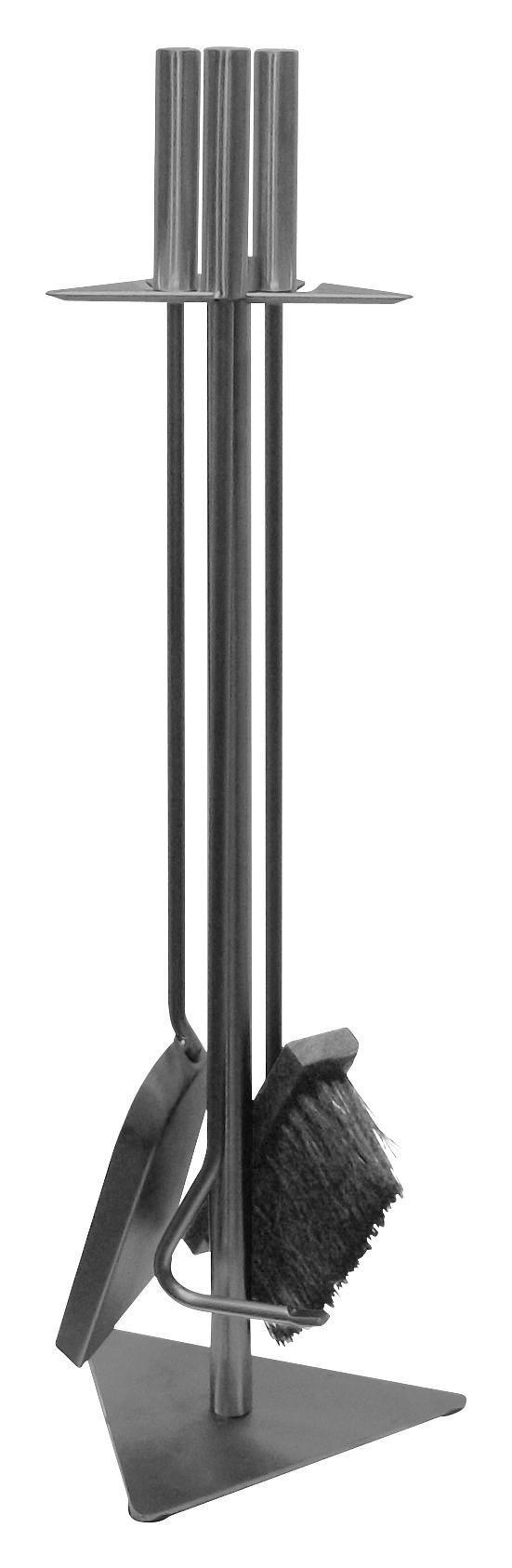 Kaminbesteck Gustav 4-tlg. - Silberfarben, ROMANTIK / LANDHAUS, Metall (60cm)
