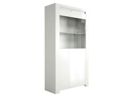 Highboard Orlando B:92cm Weiß Hochglanz/ Glas - Weiß, MODERN, Glas/Holzwerkstoff (92/168/36cm)