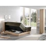 Boxspringbett mit Topper 160x200 cm Moneta - Eichefarben/Schwarz, MODERN, Holz/Textil (160/200cm) - Livetastic
