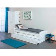 Bett inkl. Lattenrost + Bettlade 90x200 Ulli, Weiß - Weiß, Basics, Holz (90/200cm) - MID.YOU