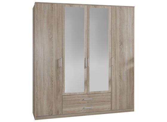 Drehtürenschrank mit Spiegel 180cm Osaka, Sägerau Dekor - Eichefarben, KONVENTIONELL, Glas/Holzwerkstoff (180/199/58cm) - Xora