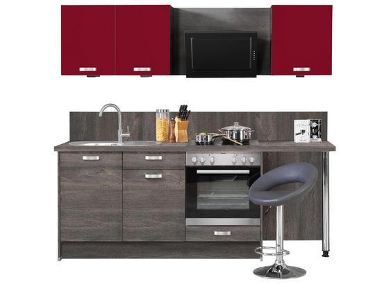 Küchenblock Pn100/Pn270 B: 224 - Eichefarben/Rot, Design, Holzwerkstoff (224cm) - Pino