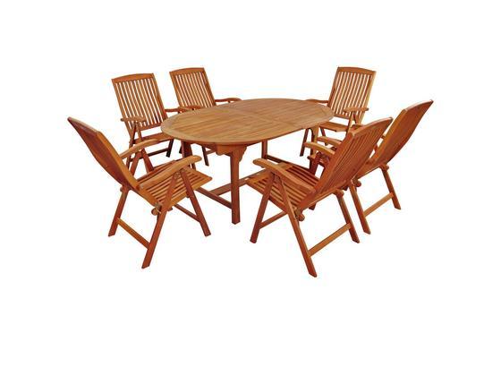 Gartentischgruppe Sun Flair - Hellbraun, Basics, Holz - Ambia Garden