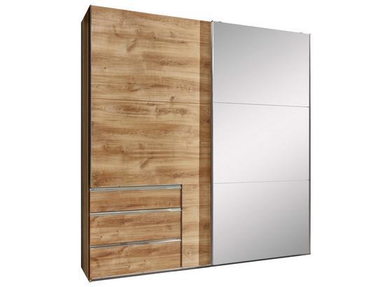 Schwebetürenschrank mit Spiegel 250cm Level 36a, Eiche Dekor - Eichefarben, MODERN, Glas/Holzwerkstoff (250/216/65cm)