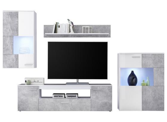 Wohnwand Modern 4 Tlg mit Led Vulcan, Betonoptik/Weiß - Weiß/Grau, MODERN, Holzwerkstoff (265-295/194/40cm)