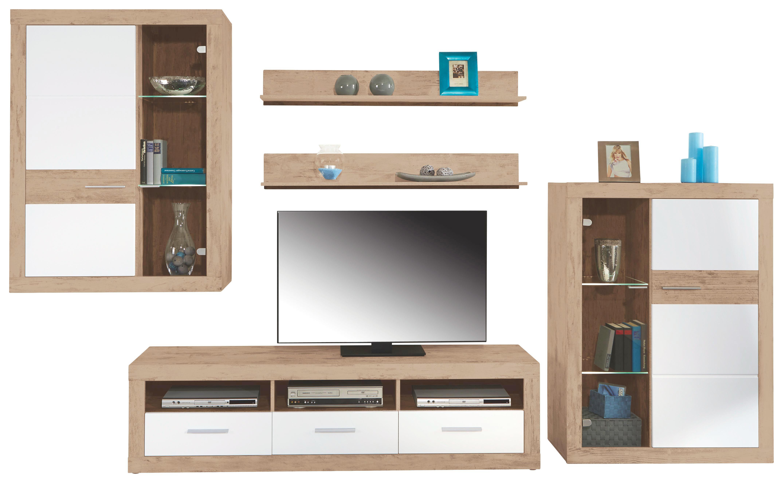Tv-elem Malta - tölgy színű/fehér, modern, fa (185/50/42cm)