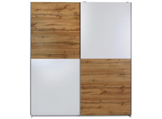 Schwebetürenschrank Puls B:170cm Weiß/ Eiche Dekor - Eichefarben/Weiß, KONVENTIONELL, Holzwerkstoff (170/195,5/58,5cm)