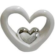 Dekoherz Love - Silberfarben/Weiß, Basics, Keramik (22,1/20,3/6,9cm) - Ombra