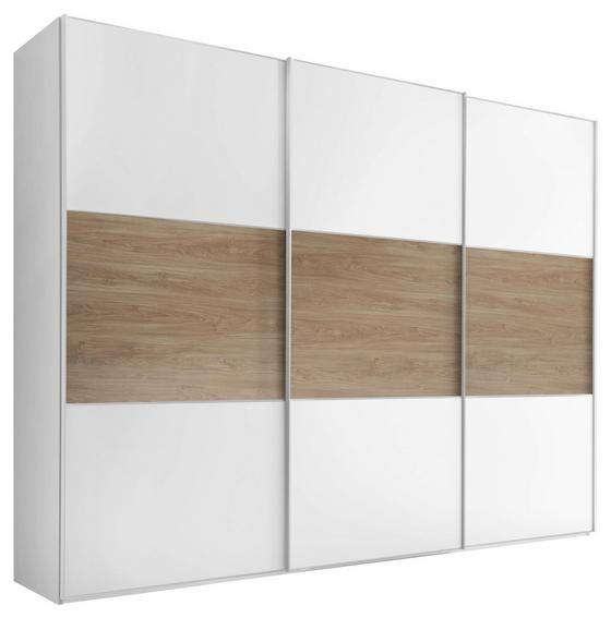 Schwebetürenschrank Includo 280cm Weiß/puccini - Eichefarben/Weiß, MODERN, Holzwerkstoff (280/222/68cm)