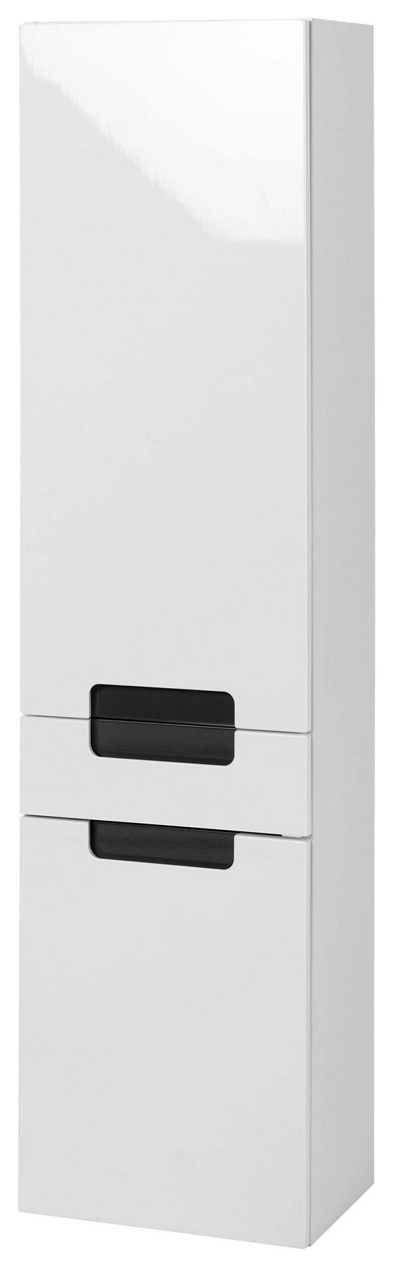 Hochschrank Siena 40cm Weiß/hglz Anthrazit - Anthrazit/Weiß, MODERN, Holzwerkstoff (40/154/27cm)